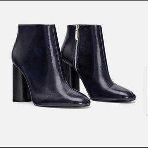 Zara Navy Blue Leather High Heeled Booties
